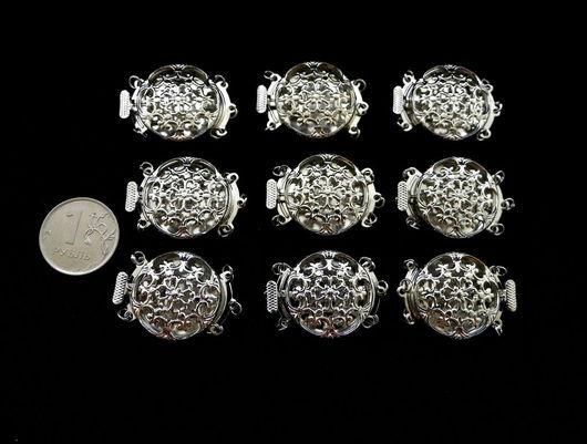 """Для украшений ручной работы. Ярмарка Мастеров - ручная работа. Купить Замок на 3 нити, филигрань, цвет """"серебро"""". Handmade."""