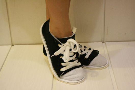 """Обувь ручной работы. Ярмарка Мастеров - ручная работа. Купить Тапочки """"Кеды"""". Handmade. Черный, тапочки, шнур, спортивный, блочки"""