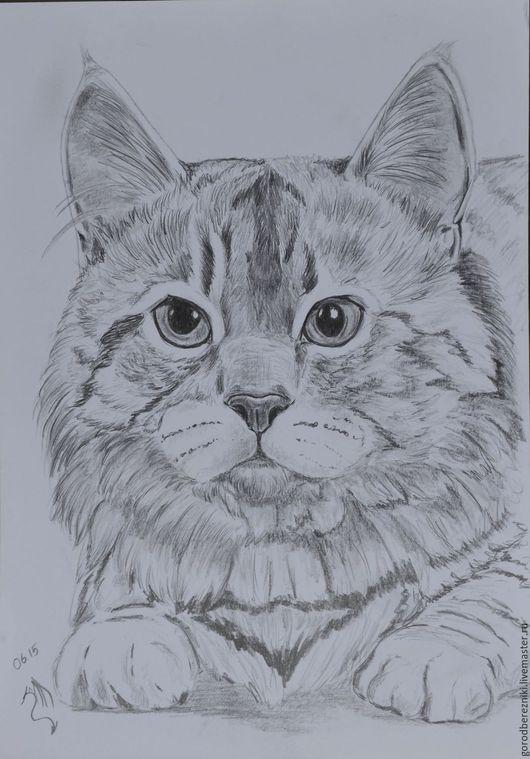Животные ручной работы. Ярмарка Мастеров - ручная работа. Купить котейка (рисунок кошки, графика, не дорого). Handmade. Чёрно-белый