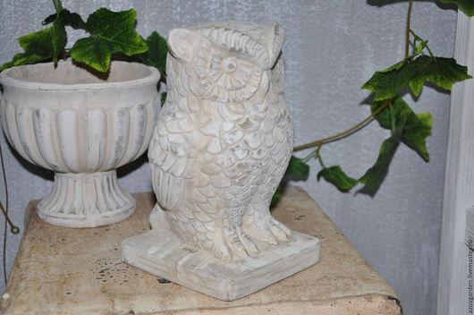 Статуэтки ручной работы. Ярмарка Мастеров - ручная работа. Купить Статуэтка Сова из бетона в стиле Прованс, Шебби. Handmade.