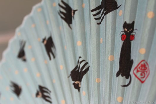 кошки, кот, веер, япония, складной веер, веер театр, веер подарок, веер бамбук шелк, веер шелк, качественный веер, легкий красивый веер, токио бижу, все из японии, подарок из японии, купить