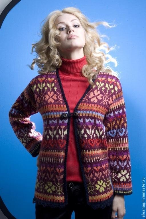 Кофты и свитера ручной работы. Ярмарка Мастеров - ручная работа. Купить Жаккардовый жакет Пряности в технике Fair Isle. Handmade.
