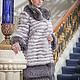 Шуба полушубок из вуалевого песца и чернобурки polar fox and silver fox fur coat furcoat fur-coat