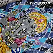 Картины ручной работы. Ярмарка Мастеров - ручная работа Картина панно на срезе дерева бог Ганеша. Handmade.