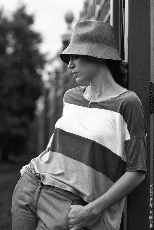 """Шляпы ручной работы. Ярмарка Мастеров - ручная работа. Купить Летняя шляпа """"Колокольчик"""". Handmade. Чёрно-белый, унисекс, клош"""