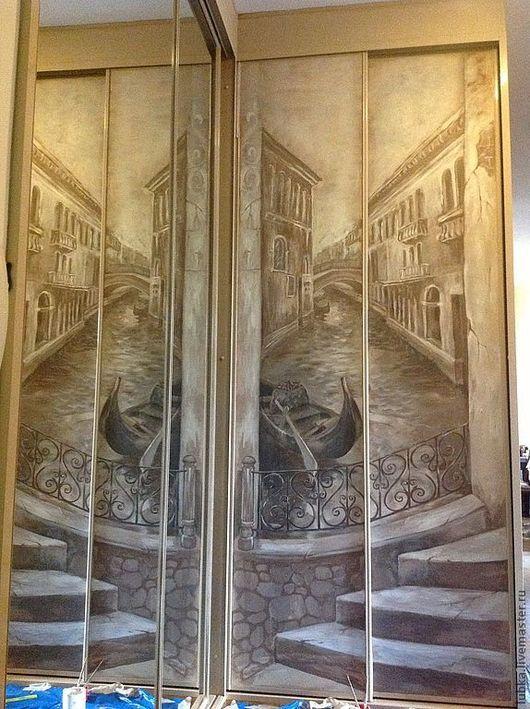 Декор поверхностей ручной работы. Ярмарка Мастеров - ручная работа. Купить роспись шкафа купе. Handmade. Коричневый, шкаф, балкончик