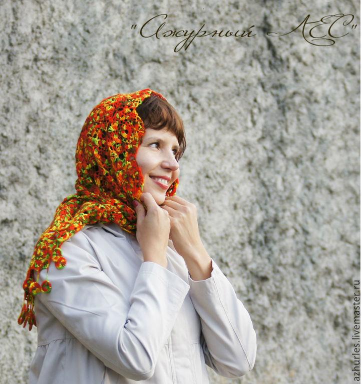 Knitted shawl scarf for women gift fishnet Orange Autumn, Shawls, Ekaterinburg,  Фото №1