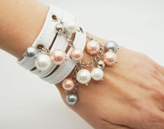 """Браслеты ручной работы. Ярмарка Мастеров - ручная работа. Купить Белый браслет из кожи """"Pearls"""". Handmade. Белый, белый браслет"""