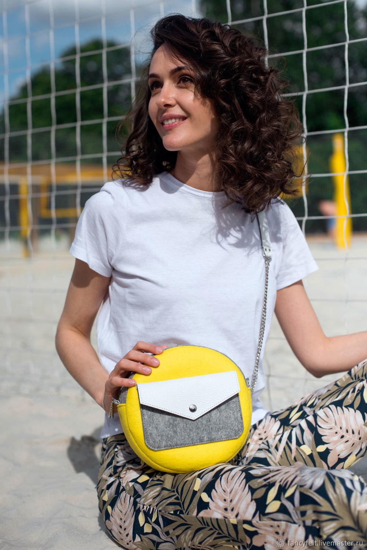 Желтая круглая сумка через плечо из фетра и кожи, Женские сумки, Москва, Фото №1