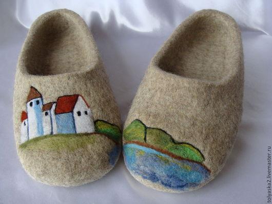 """Обувь ручной работы. Ярмарка Мастеров - ручная работа. Купить Тапки мужские """"Скоро осень"""".. Handmade. Серый, тапочки из шерсти"""