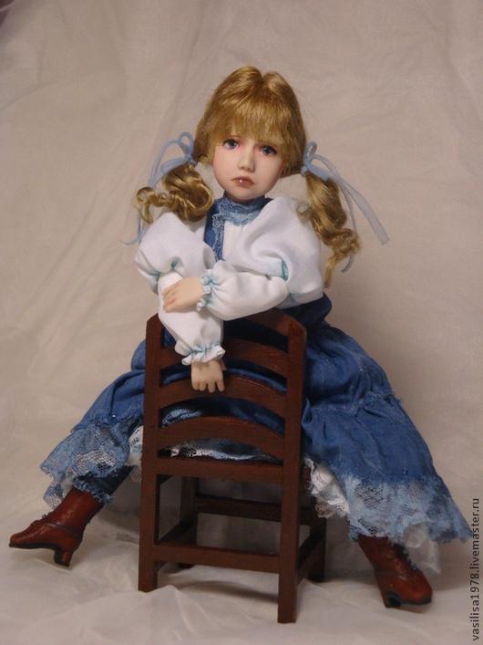 Коллекционные куклы ручной работы. Ярмарка Мастеров - ручная работа. Купить Ингрид. Handmade. Синий, натуральная кожа, дерево