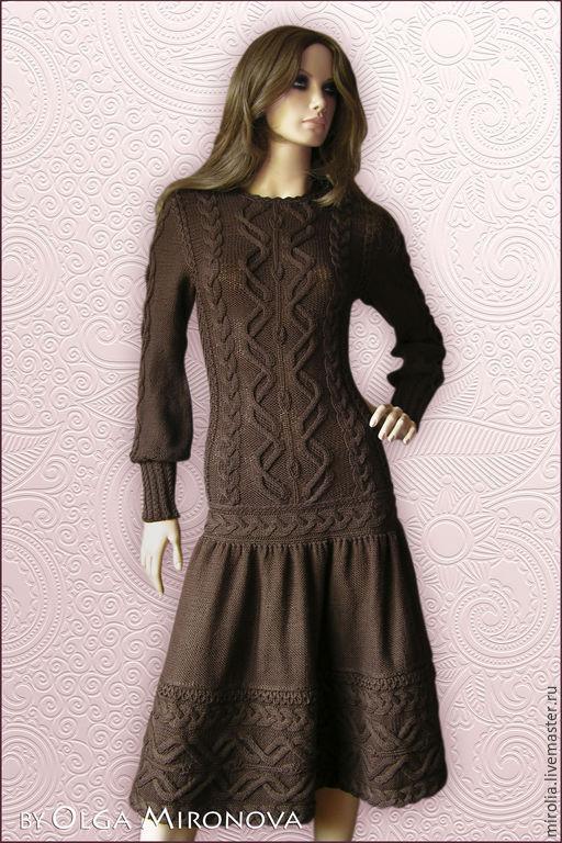 """Платья ручной работы. Ярмарка Мастеров - ручная работа. Купить Платье """"Горячий шоколад"""". Handmade. Орнамент, теплое вязаное платье"""