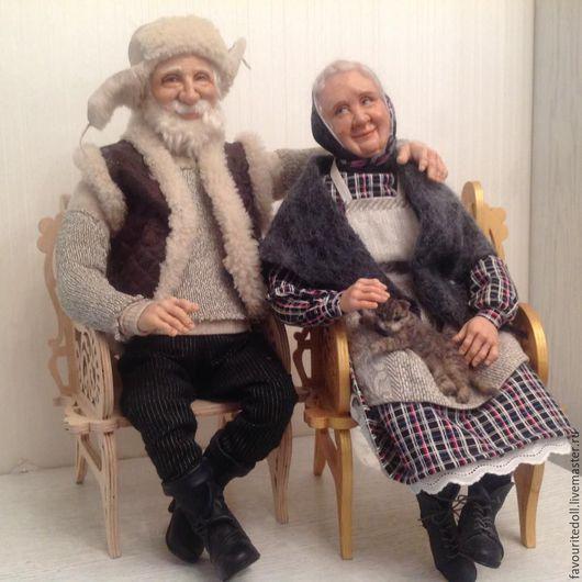 Коллекционные куклы ручной работы. Ярмарка Мастеров - ручная работа. Купить Жили были... (куклы дедушка и бабушка). Handmade. Бежевый