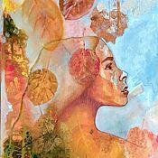 Картины и панно handmade. Livemaster - original item Oil painting fantasy girl autumn on canvas. Handmade.