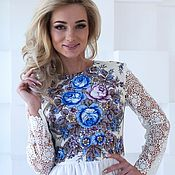 Одежда handmade. Livemaster - original item White summer dress with lace. Handmade.