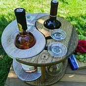 """Подставки ручной работы. Ярмарка Мастеров - ручная работа Винница из дерева - подставка под вино и бокалы """"Инь янь"""". Handmade."""