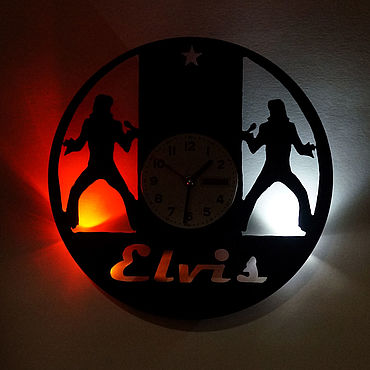 For home and interior handmade. Livemaster - original item Wall clock with LED backlight from Elvis vinyl record. Handmade.
