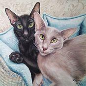 Картины и панно handmade. Livemaster - original item Oil painting with seals Casper and Eva. Handmade.