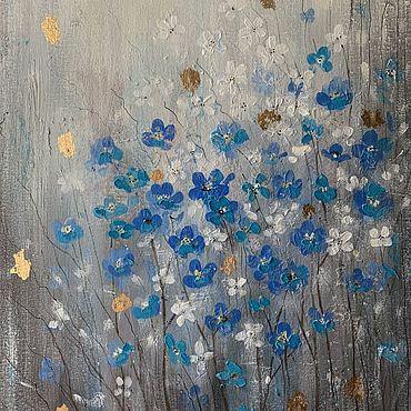Картины и панно ручной работы. Ярмарка Мастеров - ручная работа Цветы картина для интерьера, незабудки картина. Handmade.