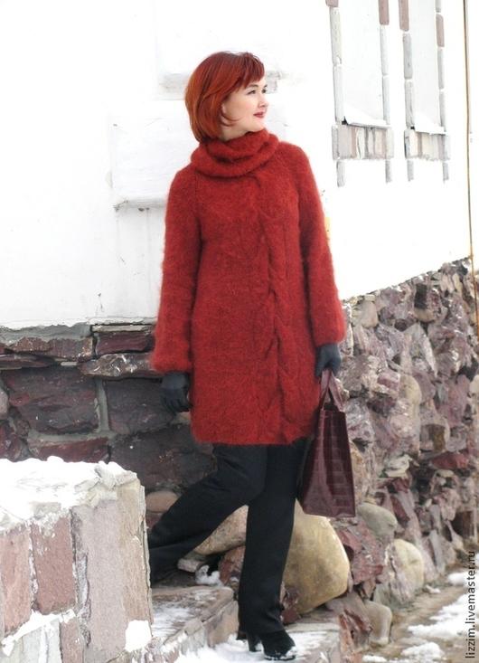 """Кофты и свитера ручной работы. Ярмарка Мастеров - ручная работа. Купить Вязаный свитер  """"Адель"""". Handmade. Рыжий, длинный свитер"""