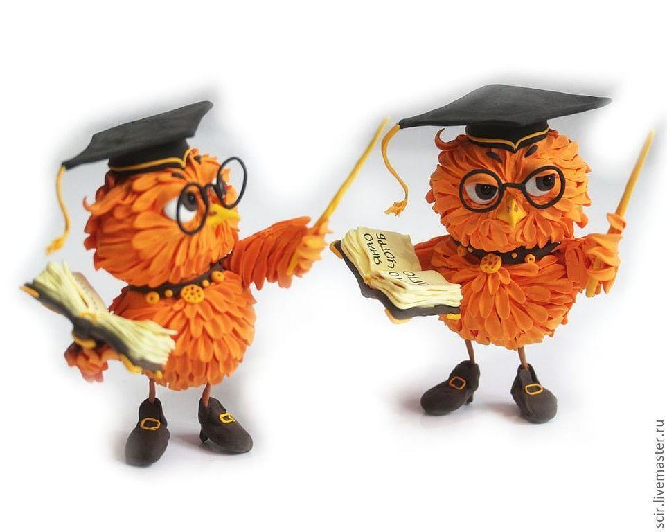 """Купить фигурка маленькая """"Сова с книгой"""" (апельсиновый ..."""