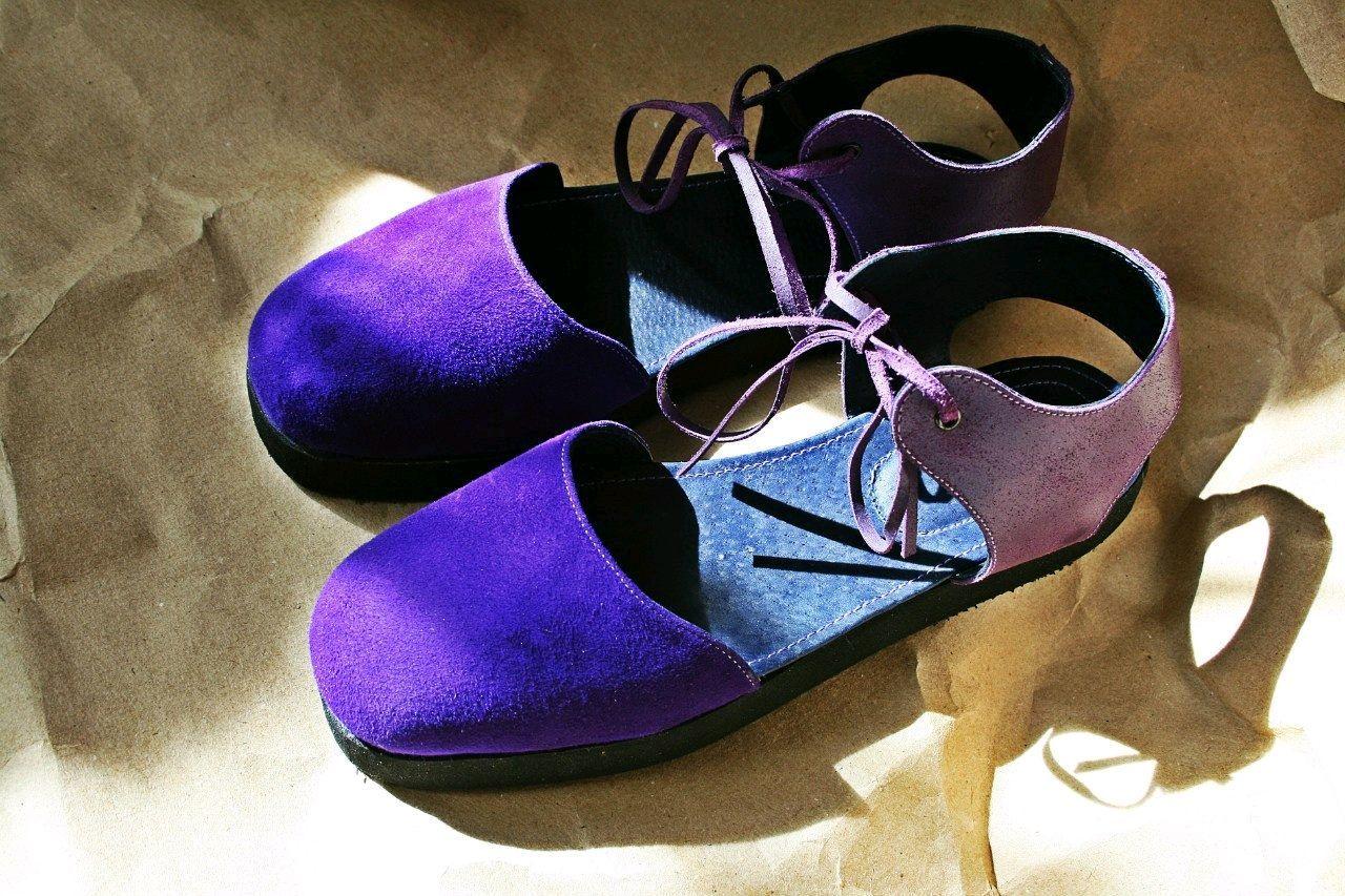 Фиолетовые сандалии из натуральной кожи и замши, Сандалии, Самара,  Фото №1