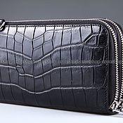 Сумки и аксессуары handmade. Livemaster - original item Clutch bag in crocodile leather with two zippers IMA0063B4. Handmade.