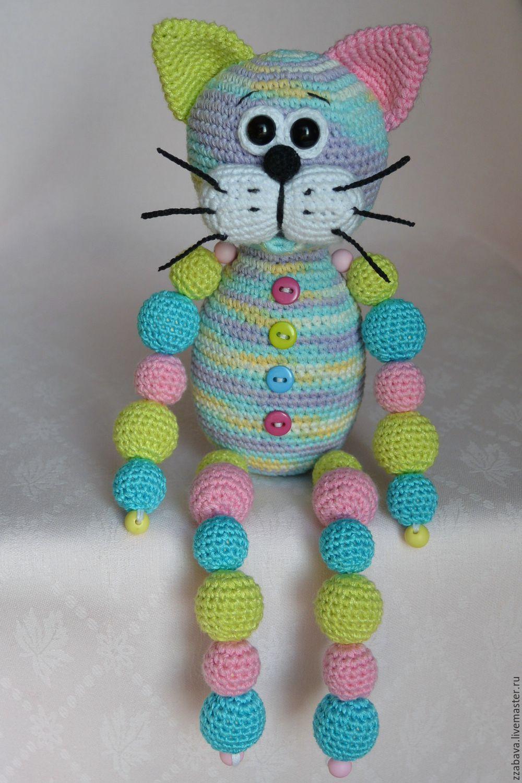 кот кругляш нежный с бусинами игрушка вязаная крючком купить в