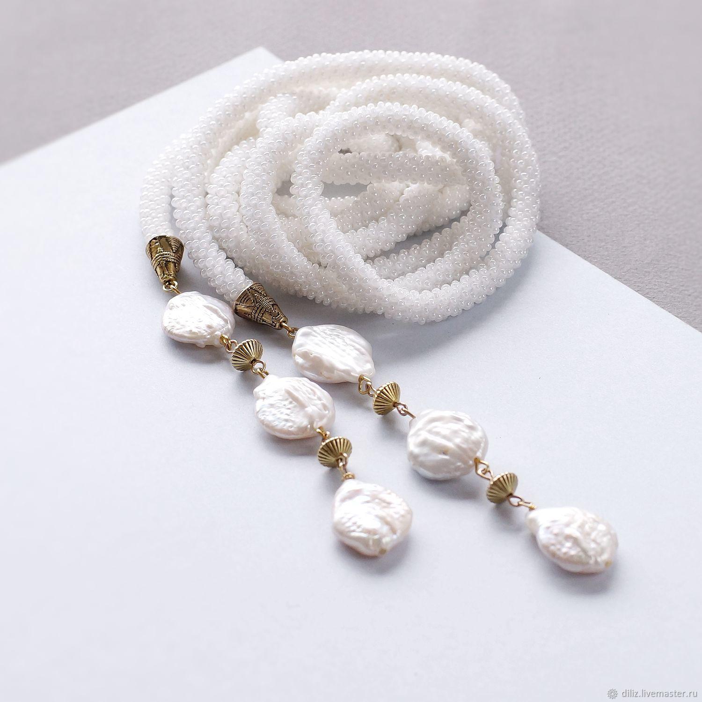 Lariat White Pearl beaded harness, Lariats, Kazan,  Фото №1