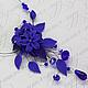 Синее колье с цветами лилий, листьями и подвесками из хрустальных бусин сваровски. Цена 1800р