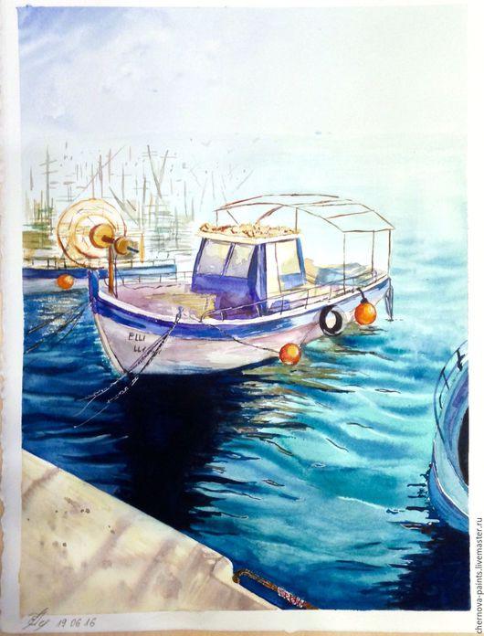 Пейзаж ручной работы. Ярмарка Мастеров - ручная работа. Купить Акварель Южный порт. Handmade. Акварель, акварельная живопись, лодка