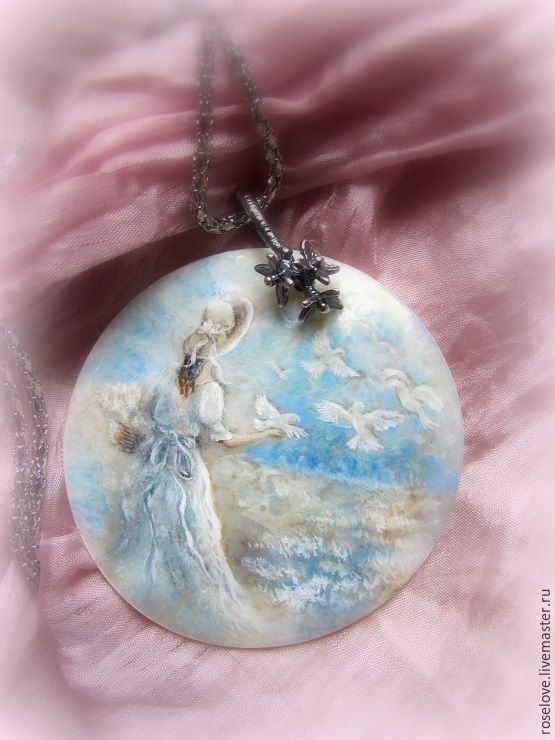Pendant with painted mother of pearl ' Lightness of being ', Pendants, Moscow,  Фото №1