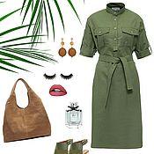 Одежда ручной работы. Ярмарка Мастеров - ручная работа Зеленое льняное платье-рубашка в стиле милитари, летнее. Handmade.