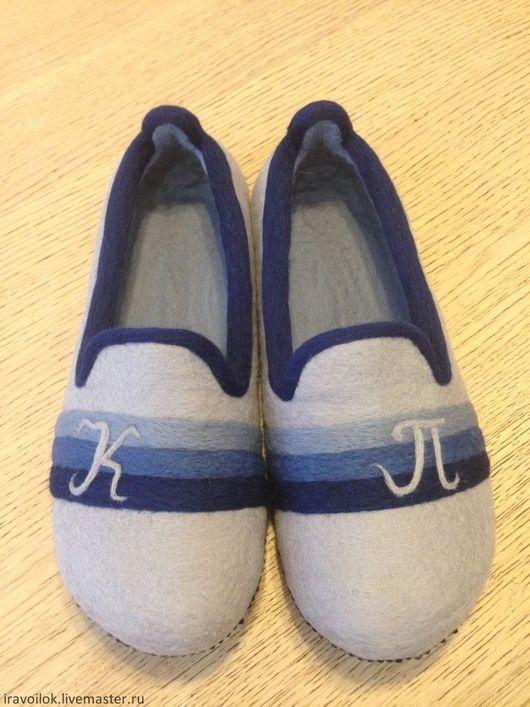 """Обувь ручной работы. Ярмарка Мастеров - ручная работа. Купить Тапочки мужские"""" КП"""". Handmade. Серый, Тапочки ручной работы"""