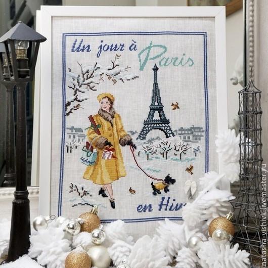 Вышивка ручной работы. Ярмарка Мастеров - ручная работа. Купить Зимний день в Париже для вышивания крестом. Handmade. Разноцветный, лен