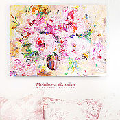 """Картины и панно ручной работы. Ярмарка Мастеров - ручная работа Картина маслом """"Розовые мечты в персиковом саду """" 60/80 см. Handmade."""