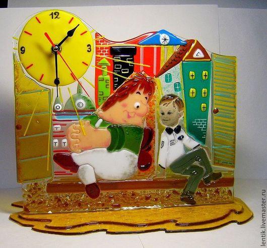 """Часы для дома ручной работы. Ярмарка Мастеров - ручная работа. Купить Часы настольные.""""Беседа..."""". Стекло.Фьюзинг.. Handmade."""