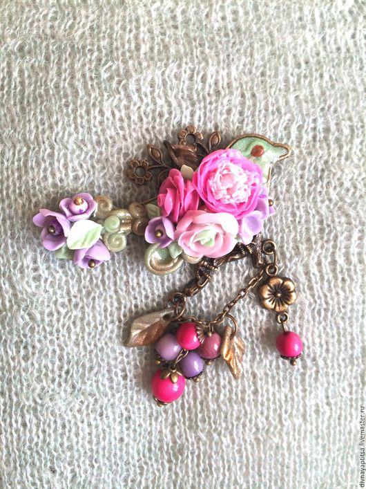 """Броши ручной работы. Ярмарка Мастеров - ручная работа. Купить Птица-брошь """"Розовый пион"""". Handmade. Подарок на любой случай"""