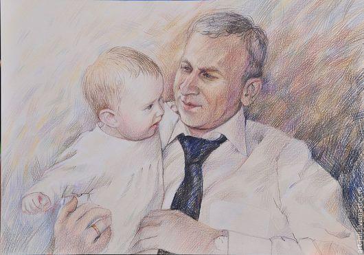 """Люди, ручной работы. Ярмарка Мастеров - ручная работа. Купить портрет на заказ """"Дедушка и внучка"""". Handmade. Бежевый"""