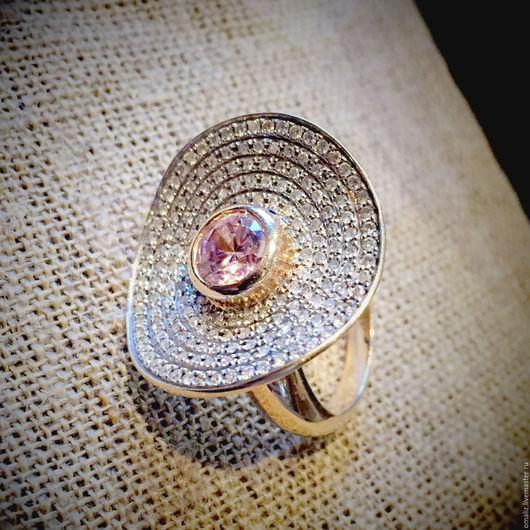 Кольцо, золото 750 пробы, бриллианты, искусственный александрит. Единственный экземпляр