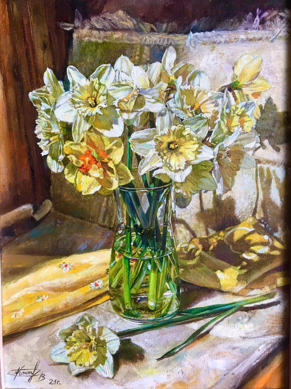 Месяц май. Нарциссы. Картина маслом на холсте нарциссы, Картины, Череповец,  Фото №1