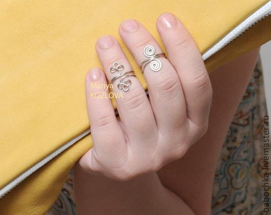 Кольца ручной работы. Ярмарка Мастеров - ручная работа. Купить Пара модных колечек, приносящая удачу - Клевер, Завиток. Handmade.