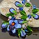 `Небесныая орхидея` голубой Браслет женский с жемчугом подарок девушке