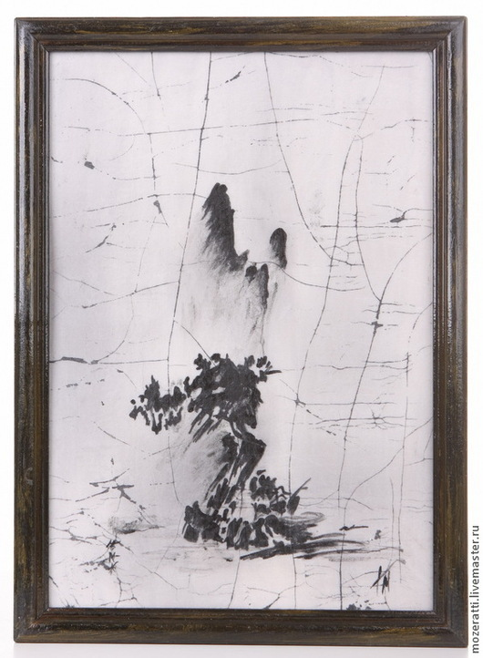 Пейзаж ручной работы. Ярмарка Мастеров - ручная работа. Купить Панно «Пейзаж со сломанным деревом». Handmade. Черный, картина