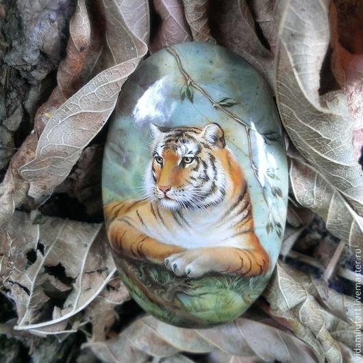 Роспись по камню ручной работы. Ярмарка Мастеров - ручная работа. Купить Тигр на яшме. Handmade. Рыжий, природа, тигр, животное