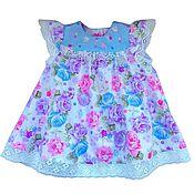 Работы для детей, ручной работы. Ярмарка Мастеров - ручная работа Платье, блумеры, комплект с цветами. Handmade.