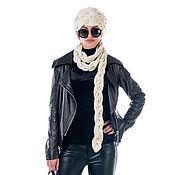 Шапочка-шарф кашемировая  из 100% белого кашемира - модный аксессуар!