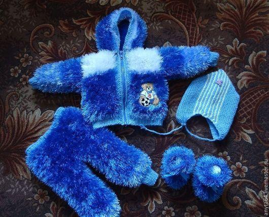 """Для новорожденных, ручной работы. Ярмарка Мастеров - ручная работа. Купить костюмчик из """"Травки"""". Handmade. Синий, костюмчик, комплект для мальчика"""