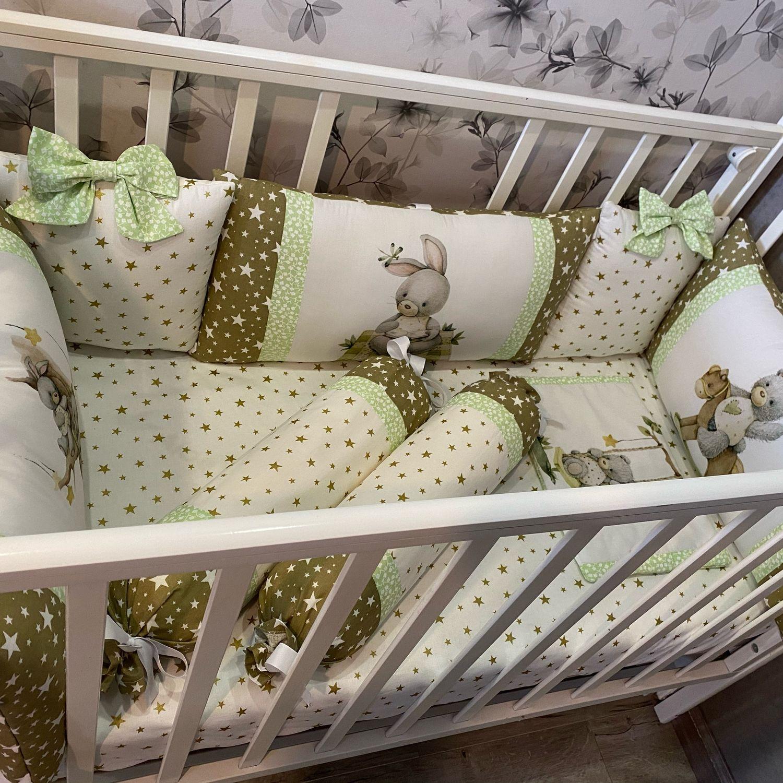 Комплект в кроватку( бортики, простынь, подушка), Детское постельное белье, Москва,  Фото №1