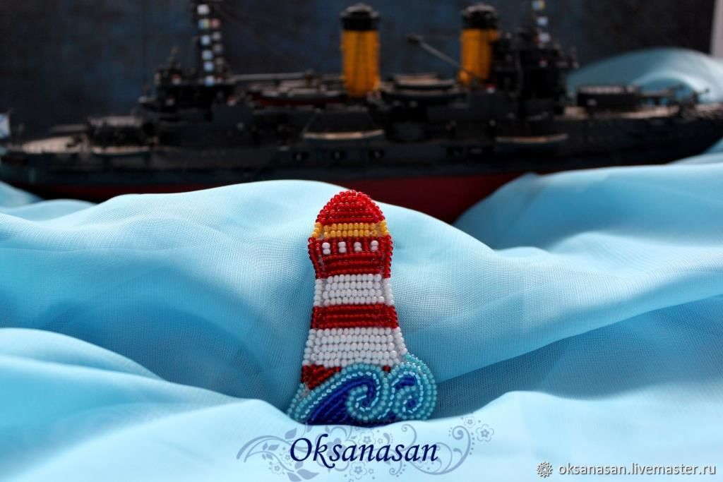 lighthouse bead brooch, Brooches, Moscow,  Фото №1